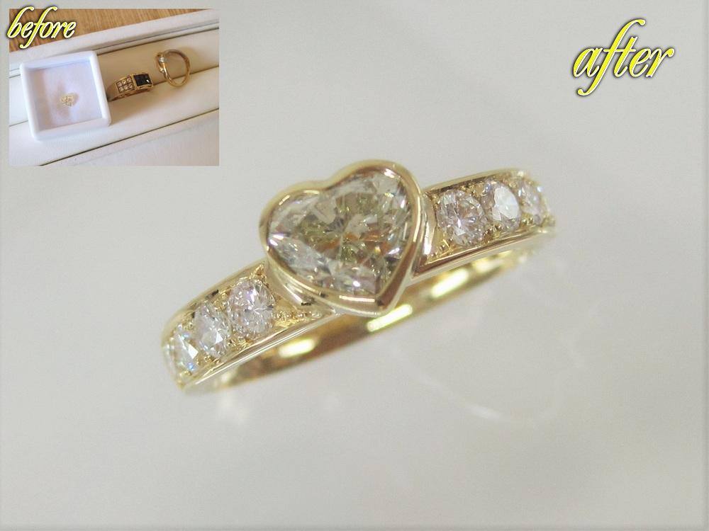 ハートシェイプカットのダイヤモンドと使っていない指輪の18金、メレーダイヤを組み合わせたフルオーダーの指輪