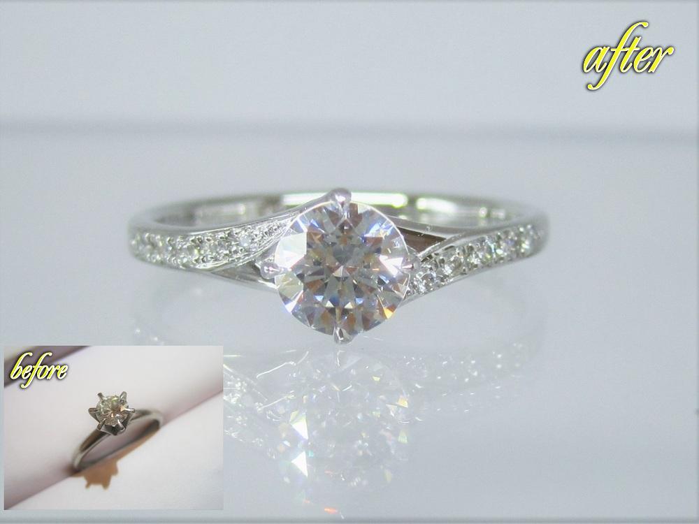 祖母からもらった立爪のダイヤのリングを使い勝手の良いデザインのリングにリフォーム