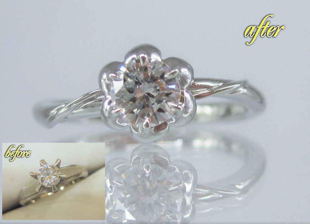 母親のダイヤモンドの婚約指輪をフラワーモチーフの指輪にリメイク
