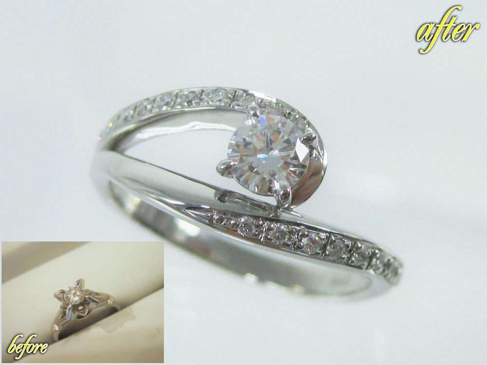 指をきれいに魅せるアシンメトリーなデザインとメレーダイヤの指輪にジュエリーリフォーム