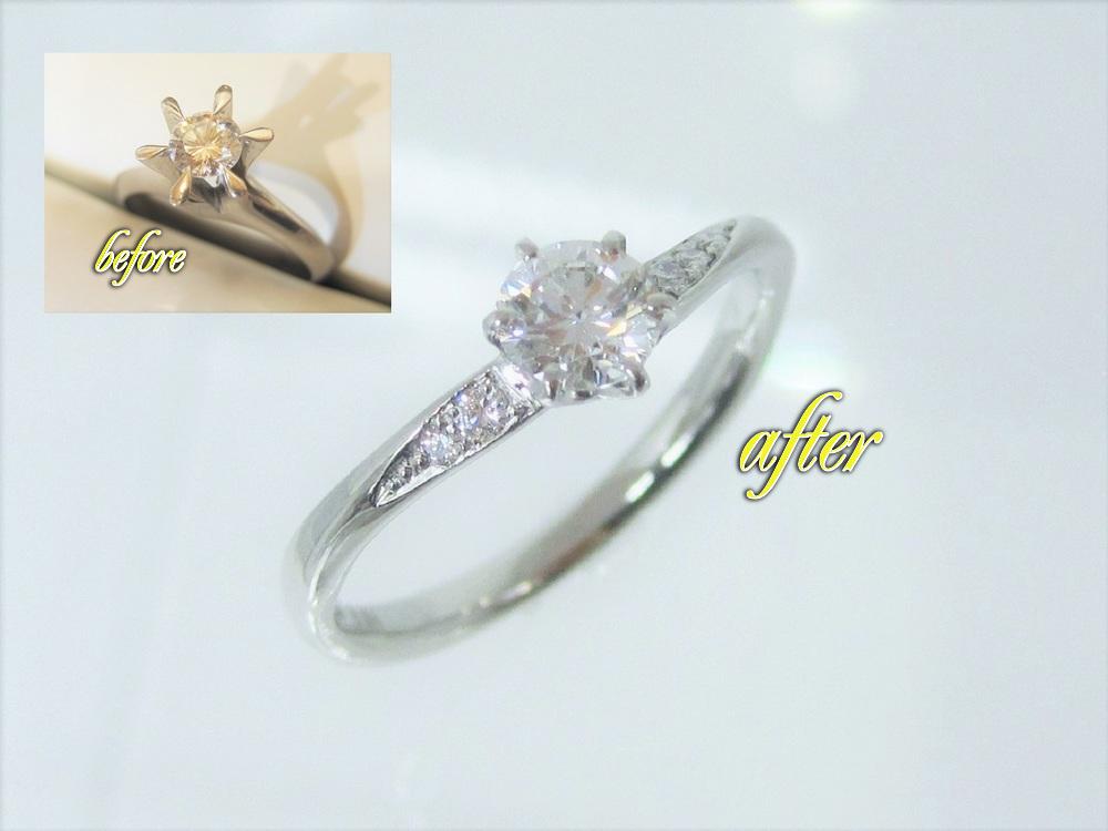 細目の繊細なモデルの指輪です