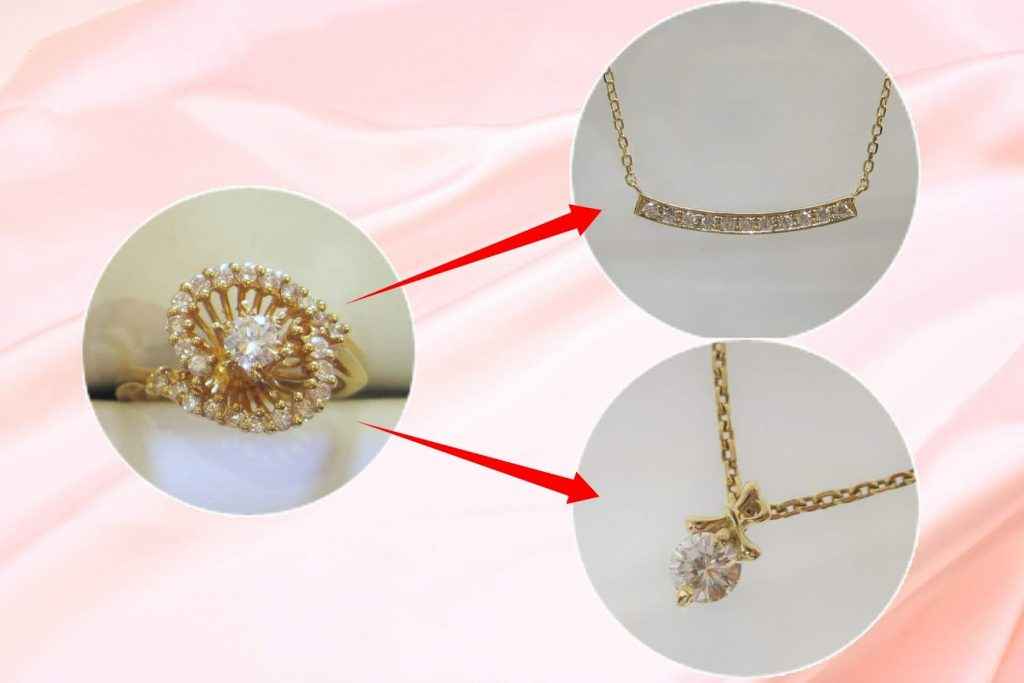 ラウンドダイヤとメレーダイヤの18金のデザインリングを2つのネックレスにリメイク