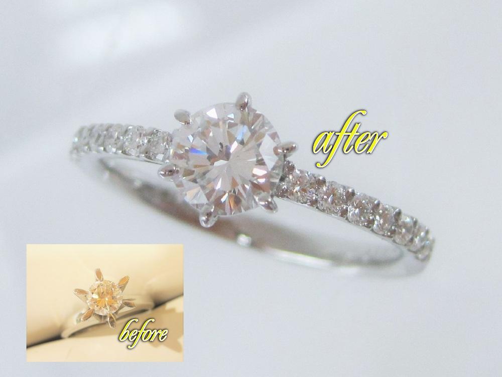 たて爪のダイヤが繊細で華やかなリングに